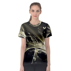 Awesome Glowing Lines With Beautiful Butterflies On Black Background Women s Sport Mesh Tees