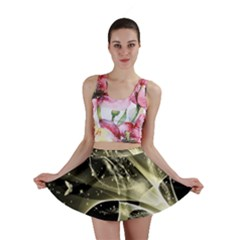 Awesome Glowing Lines With Beautiful Butterflies On Black Background Mini Skirts