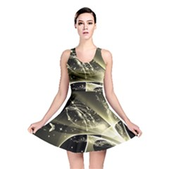 Awesome Glowing Lines With Beautiful Butterflies On Black Background Reversible Skater Dresses