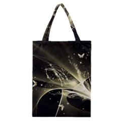 Awesome Glowing Lines With Beautiful Butterflies On Black Background Classic Tote Bags
