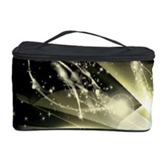Awesome Glowing Lines With Beautiful Butterflies On Black Background Cosmetic Storage Cases