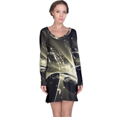 Awesome Glowing Lines With Beautiful Butterflies On Black Background Long Sleeve Nightdresses
