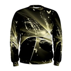 Awesome Glowing Lines With Beautiful Butterflies On Black Background Men s Sweatshirts