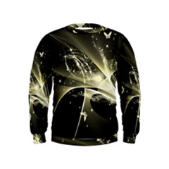 Awesome Glowing Lines With Beautiful Butterflies On Black Background Boys  Sweatshirts