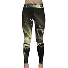 Awesome Glowing Lines With Beautiful Butterflies On Black Background Yoga Leggings