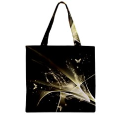 Awesome Glowing Lines With Beautiful Butterflies On Black Background Zipper Grocery Tote Bags