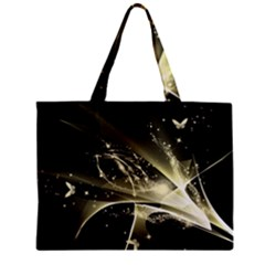 Awesome Glowing Lines With Beautiful Butterflies On Black Background Zipper Tiny Tote Bags