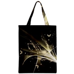 Awesome Glowing Lines With Beautiful Butterflies On Black Background Zipper Classic Tote Bags