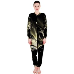Awesome Glowing Lines With Beautiful Butterflies On Black Background OnePiece Jumpsuit (Ladies)