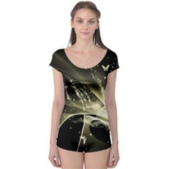 Awesome Glowing Lines With Beautiful Butterflies On Black Background Short Sleeve Leotard