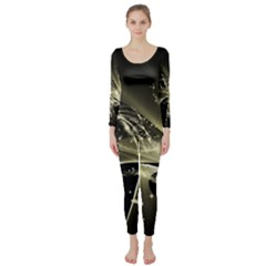 Awesome Glowing Lines With Beautiful Butterflies On Black Background Long Sleeve Catsuit