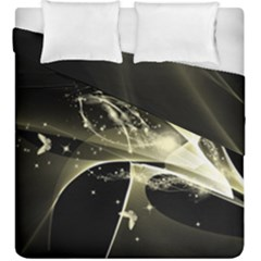 Awesome Glowing Lines With Beautiful Butterflies On Black Background Duvet Cover (king Size)