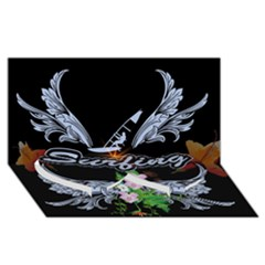 Surfboarder With Damask In Blue On Black Bakcground Twin Heart Bottom 3d Greeting Card (8x4)