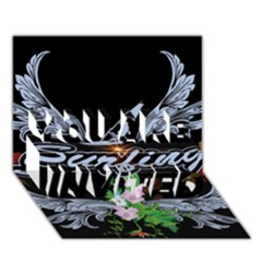 Surfboarder With Damask In Blue On Black Bakcground You Are Invited 3d Greeting Card (7x5)