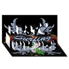 Surfboarder With Damask In Blue On Black Bakcground Best Wish 3D Greeting Card (8x4)