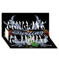 Surfboarder With Damask In Blue On Black Bakcground Congrats Graduate 3D Greeting Card (8x4)