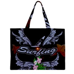 Surfboarder With Damask In Blue On Black Bakcground Zipper Tiny Tote Bags