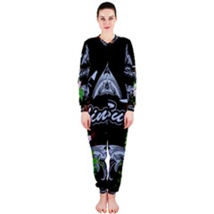 Surfboarder With Damask In Blue On Black Bakcground Onepiece Jumpsuit (ladies)