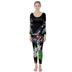 Surfboarder With Damask In Blue On Black Bakcground Long Sleeve Catsuit