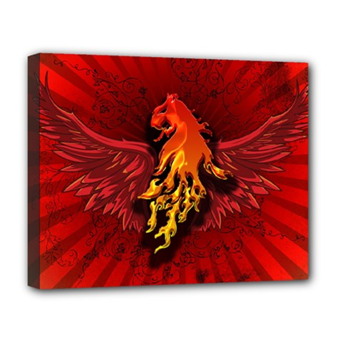 Lion With Flame And Wings In Yellow And Red Deluxe Canvas 20  x 16