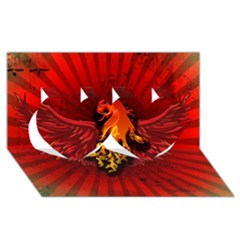 Lion With Flame And Wings In Yellow And Red Twin Hearts 3D Greeting Card (8x4)