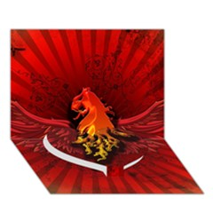 Lion With Flame And Wings In Yellow And Red Heart Bottom 3d Greeting Card (7x5)