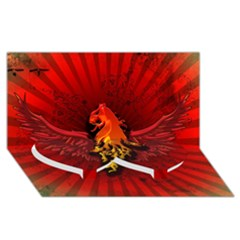 Lion With Flame And Wings In Yellow And Red Twin Heart Bottom 3D Greeting Card (8x4)