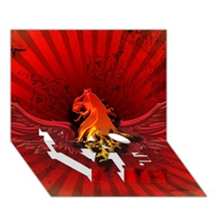 Lion With Flame And Wings In Yellow And Red LOVE Bottom 3D Greeting Card (7x5)