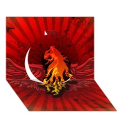 Lion With Flame And Wings In Yellow And Red Circle 3d Greeting Card (7x5)