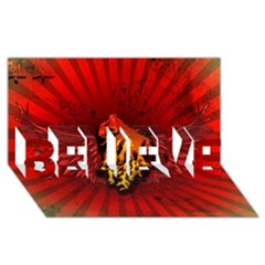 Lion With Flame And Wings In Yellow And Red BELIEVE 3D Greeting Card (8x4)