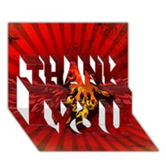 Lion With Flame And Wings In Yellow And Red Thank You 3d Greeting Card (7x5)