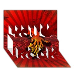 Lion With Flame And Wings In Yellow And Red You Rock 3D Greeting Card (7x5)