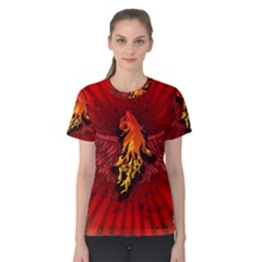 Lion With Flame And Wings In Yellow And Red Women s Cotton Tees