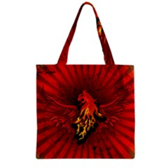 Lion With Flame And Wings In Yellow And Red Grocery Tote Bags