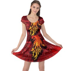 Lion With Flame And Wings In Yellow And Red Cap Sleeve Dresses