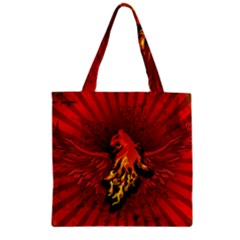 Lion With Flame And Wings In Yellow And Red Zipper Grocery Tote Bags
