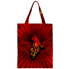 Lion With Flame And Wings In Yellow And Red Zipper Classic Tote Bags