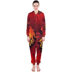 Lion With Flame And Wings In Yellow And Red Hooded Jumpsuit (ladies)