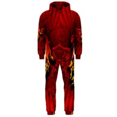 Lion With Flame And Wings In Yellow And Red Hooded Jumpsuit (men)