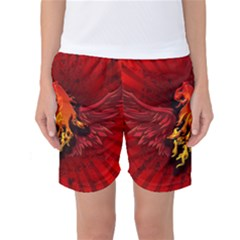 Lion With Flame And Wings In Yellow And Red Women s Basketball Shorts