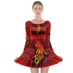 Lion With Flame And Wings In Yellow And Red Long Sleeve Skater Dress