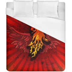 Lion With Flame And Wings In Yellow And Red Duvet Cover Single Side (double Size)