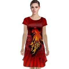 Lion With Flame And Wings In Yellow And Red Cap Sleeve Nightdresses