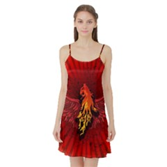Lion With Flame And Wings In Yellow And Red Satin Night Slip