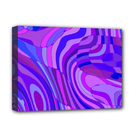 Retro Abstract Blue Pink Deluxe Canvas 16  x 12