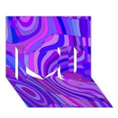Retro Abstract Blue Pink I Love You 3d Greeting Card (7x5)