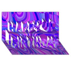 Retro Abstract Blue Pink Happy Birthday 3D Greeting Card (8x4)