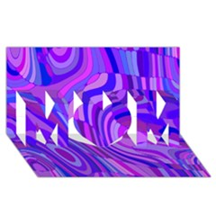 Retro Abstract Blue Pink MOM 3D Greeting Card (8x4)