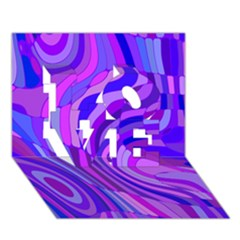 Retro Abstract Blue Pink LOVE 3D Greeting Card (7x5)