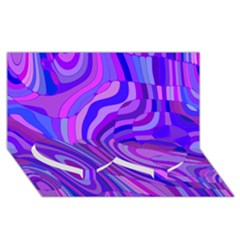 Retro Abstract Blue Pink Twin Heart Bottom 3D Greeting Card (8x4)